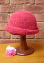 Felt Knitted Shaped Brim Hat - Reds