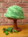 Felt Knitted Shaped Brim Hat - Greens