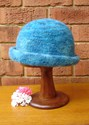 Felt Knitted Shaped Brim Hat - Turquoise