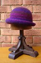 Felt Knitted Shaped Brim Hat - Plum/Purple Multi