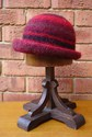 Felt Knitted Shaped Brim Hat - Red/Black Multi