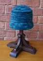 Felt Knitted Rolled Brim Pillbox Hat - Teal Multi