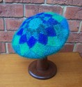 Felt Knitted Modular Beret - Blue/Green  © Lynette Swift